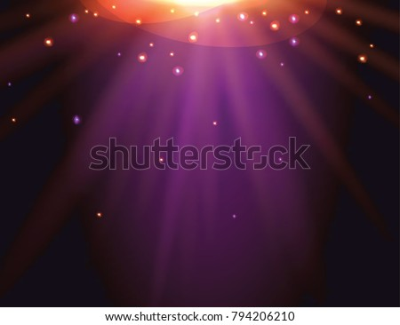 Vector background with lights, glitters and spotlights. Abstract scene, party, night show.