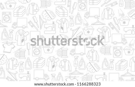Vector background with linear icons: dry cleaning, laundry and cloth washing service, drying, ironing symbols, washing machine, stain removing, hanger, folded clothing, delivery, clothes repairing