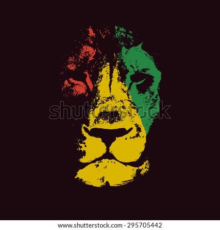Shutterstock Vector background with lion head. Rasta background.Vector illustration.