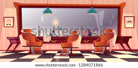 Vector background with male barbershop, gentlemanly salon for haircutting. Hipster grooming place with mirror, beauty club with professional devices, towels. Male service, fashion concept.
