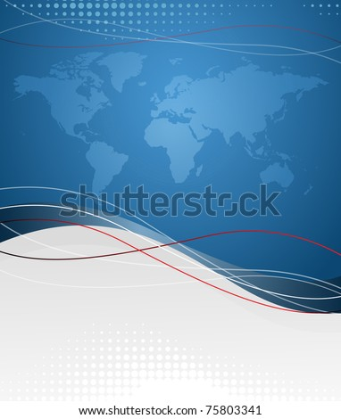 Vector background with map of world. EPS10