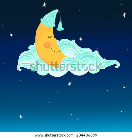 Vector background with night sky and sleeping smiling moon in the nightcap. Stock photo ©
