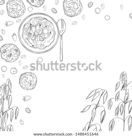 Vector background with oatmeal porridge and cookies. Hand drawn sketch illustration Stockfoto ©