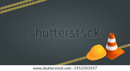 Vector background with orange plastic traffic cones, construction helmet, safety tape and copyspace. Under construction template on dark gray background. Vector illustration. Foto stock ©