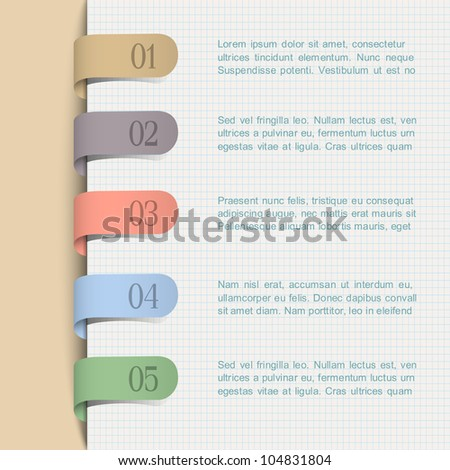 Vector background with paper numbered tags