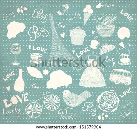 Vector background with Paris symbols
