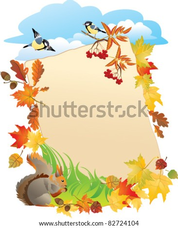 Vector background with portrait frame with Autumn Leafs - stock vector
