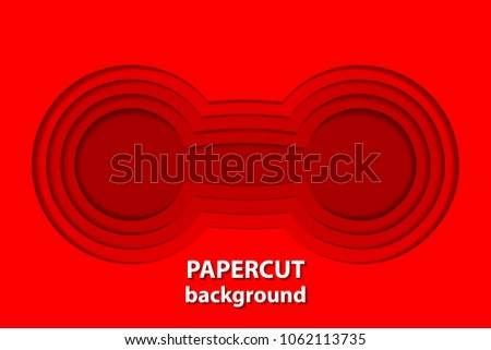 Vector background with red paper cut shapes. 3D abstract paper art style, design layout for business presentations, flyers, posters, prints, decoration, cards, brochure cover.