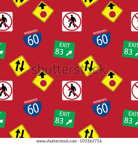 Vector background with  road signs, seamless pattern