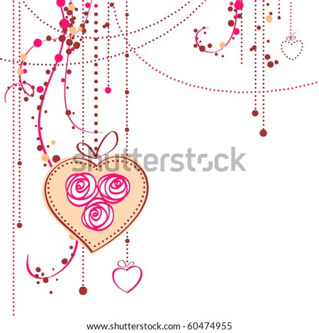 Valentines Day Hearts And Roses. stock vector : Vector background with roses and hearts. Valentine#39;s day card