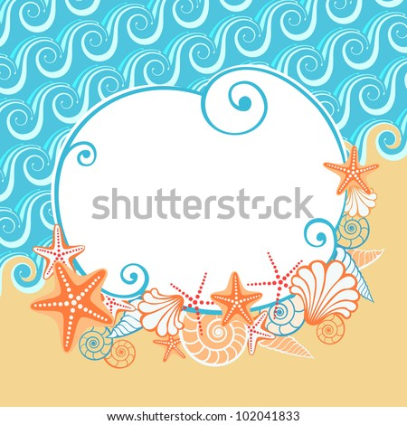 Vector background with sea, golden sand, seashells, starfish and the banner. Stylized coastline. Vintage colorful abstract illustration with concept of seaside resort, vacation, diving