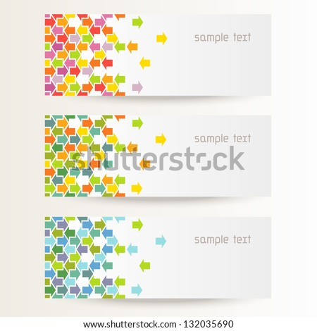 Vector background with seamless pattern of color arrows. Brochure template with text box. Set of abstract cards with concept of movement. Banners with simple decorative design element for print, web