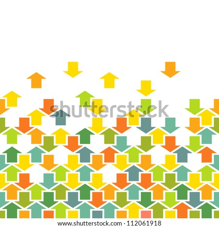Vector background with seamless pattern of color arrows. Simple illustration with concept of movement, cooperation and concord with text box. Abstract combinatorial illustration for print and web