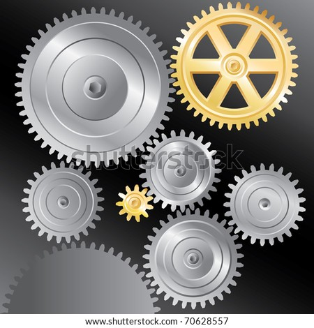 vector background with silver and golden gears