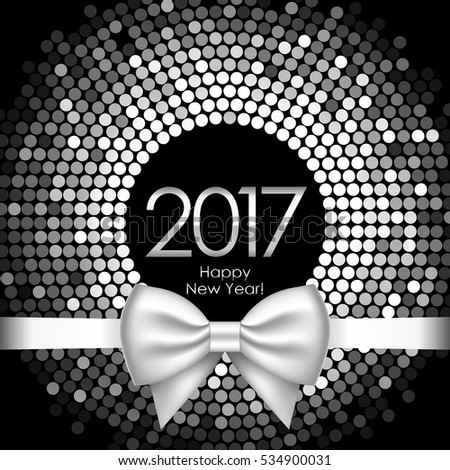Vector 2017 background with silver disco lights and ribbon