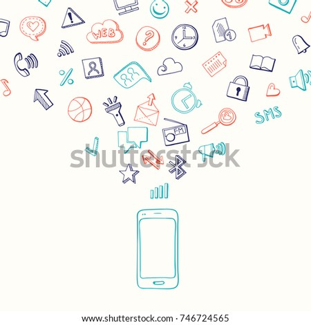 Vector background with social media hand drawn elements flying from smartphone. Network social media, mobile web marketing illustration