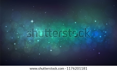 Vector background with starry space, Milky Way, beautiful nebula, cosmos
