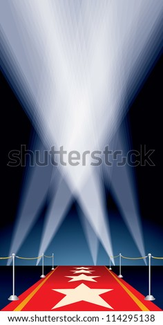 vector background with stars on red carpet and spotlights - stock vector