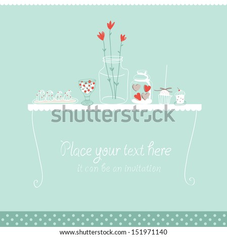 Vector background with sweets, hearts, and jar with flowers