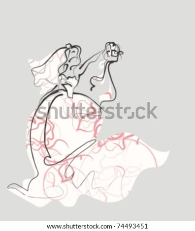 VECTOR Background with the beautiful young bride - stock vector