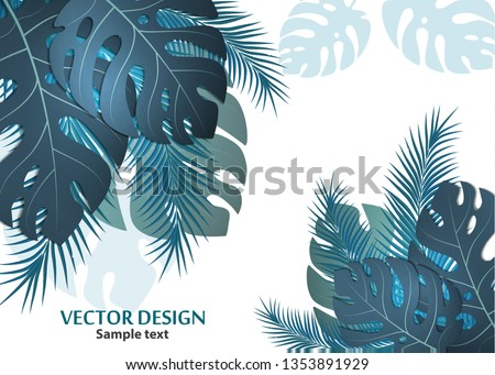 Vector background with tropical monster leaves and palm leaves. Bright abstract background for banner, flyer or cover with copy space for text or emblem - vector graphics