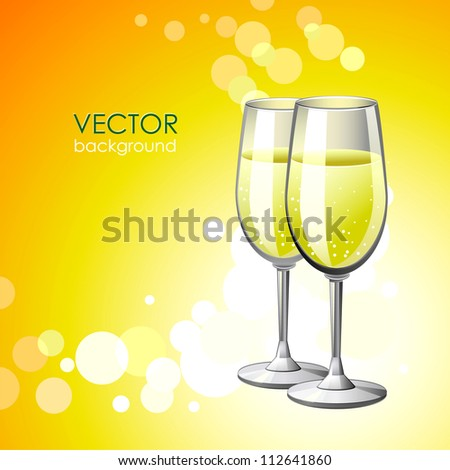 Vector background with two glasses of champagne .