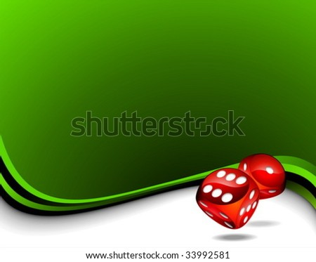 Vector background with two red dices for a casino theme.