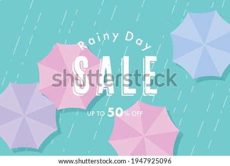 vector background with umbrellas in the rain for banners, cards, flyers, social media wallpapers, etc. Foto stock ©