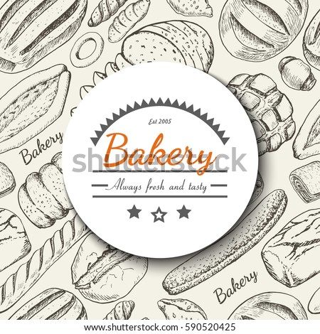 Vector background with various bakery products