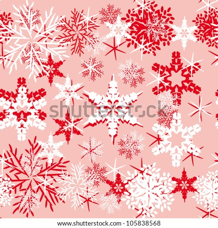 Vector background with various snowflakes. Abstract gentle illustration