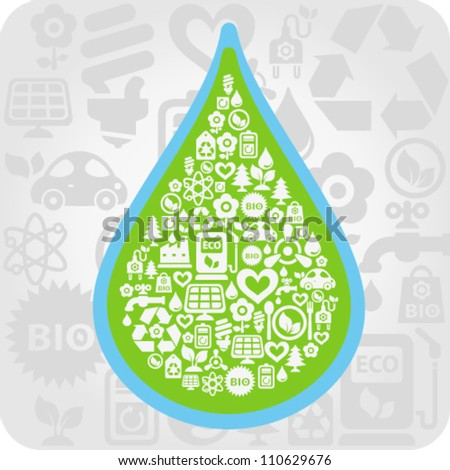 Vector background with water drop contained from ecology icons