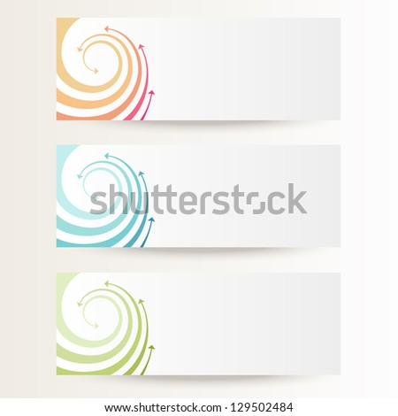 Vector background with wave of color twisted arrows. Brochure template with text box. Set of abstract cards with concept of movement. Banners with simple decorative design element for print and web