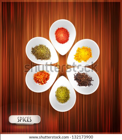 vector background with white bowl on the wooden background, the filling of spices