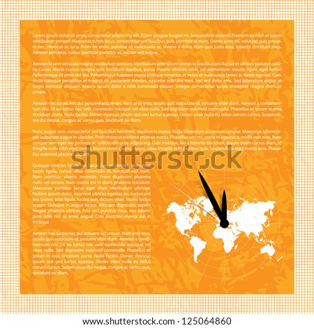 Vector background with world map and clock - space for text