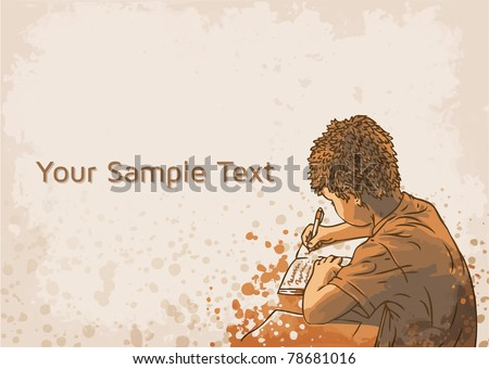 vector background with writing boy