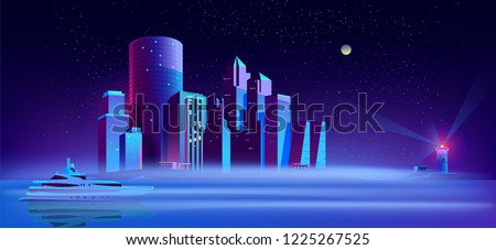 vector background with yacht in