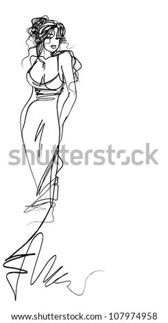 VECTOR Background with   young   woman in  beautiful  dress