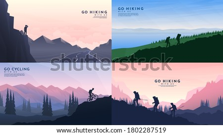 Vector backgrounds set. Travel concept of discovering, exploring and observing nature. Hiking. Adventure tourism. Flat design template of gift cards, banner, invitation, poster, website layout.