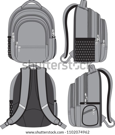 Vector backpack in 4 angles. Front, back, left and right views with all details for industrial and graphical use.