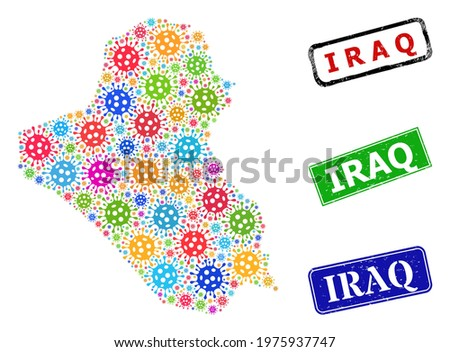 Vector bacterium collage Iraq map, and grunge Iraq stamps. Vector vibrant Iraq map mosaic, and Iraq corroded framed rectangle stamp seals.