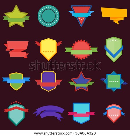 Vector badge flat modern style vector illustration. Seal icon round banner with ribbon and stars.