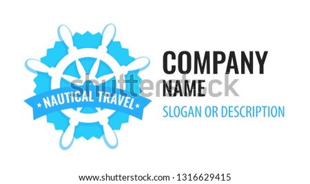 7602109ec Vector badge with ship steering wheel isolated on white background. Blue  logo emblem of travel