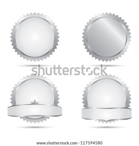 Vector Badges of A Set of Silver Seals