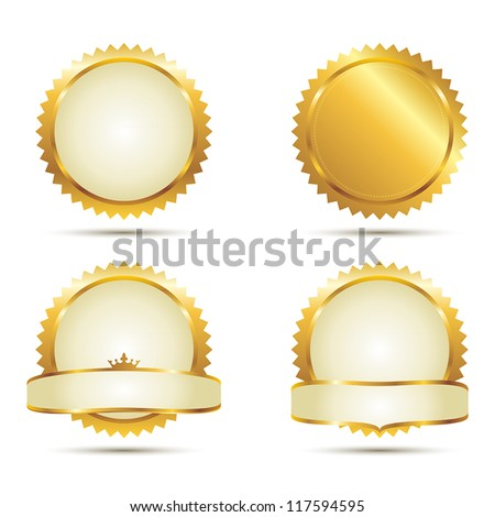 Vector Badges of Gold Seal Set