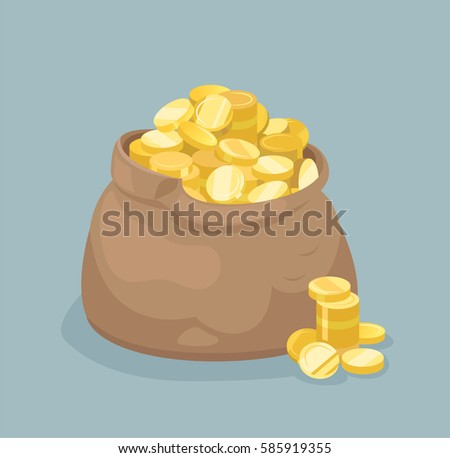 Vector bag with gold coins. Flat style
