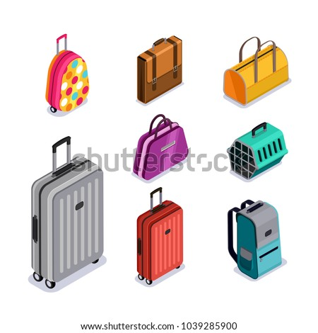 Vector baggage isolated 3d isometric style icons. Multicolor luggage, suitcase, bags, backpack, carrying animals.