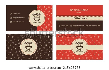 Vector bakery business card templates with logo and sweets icons pattern