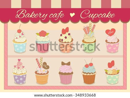 Vector Bakery cafe for cupcakes.Dessert of sweet menu.Pastel color theme.