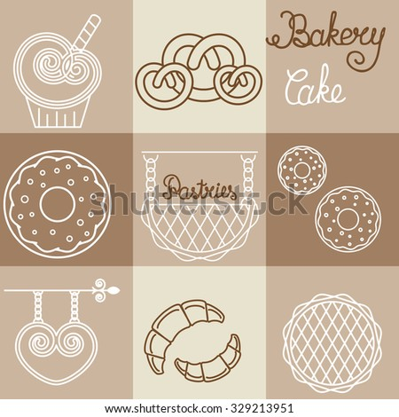 Vector bakery logos  and icons in outline style. For design of packing bread products