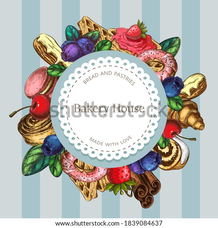 vector bakery or pastry label, round composition, badge with sweet desserts. pastries illustration. vintage logo template for homemade pastries, baking, desserts. great for cafe or patisserie. sticker